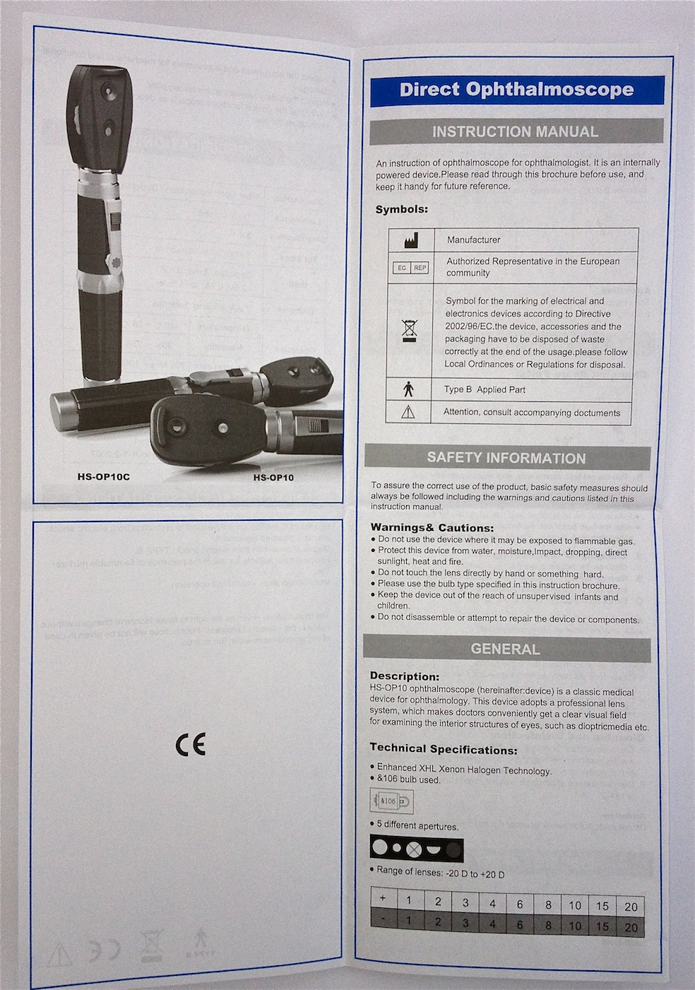 Ophthalmoscope instruction book